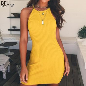 Sexy Women Knitted Bodycon Dress Backless Halter Summer Club Dress 2018 Cotton Elastic Black Yellow Party Mini Dresses Vestido