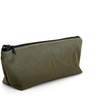 Khaki Green Recycled Army Canvas Pencil Case, Waxed Cotton Zipper Pouch, Army Canvas Pouch