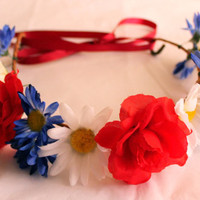 Red White and Blue Flower Crowns, Adjustable Flower Headband, Fourth of July Accessories, Flower Girl Headbands, July 4th Hair Accessories