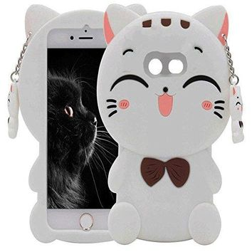 Galaxy J7 V Case,Galaxy J7 Prime Case,J7 Perx Case,J7V Case,J7 Sky Pro Case, Skmy 3D White Lucky Fortune Cat Kitty with Cute Bow Tie Silicone Rubber Phone Case Cover for Samsung Galaxy J7 2017 (White)