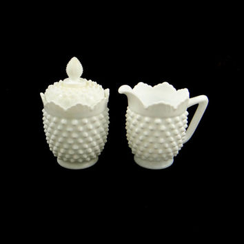 Vintage Fenton Hobnail Milk Glass Sugar and Creamer
