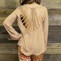 Between The Lines Tan Cut Out Long Sleeve Top