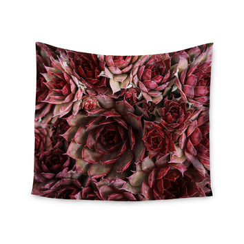 "Debbra Obertanec ""Red Succulents"" Maroon Wall Tapestry"