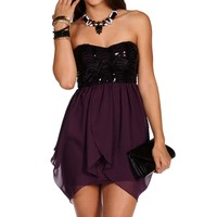Black/Eggplant Sequin Drape Dress