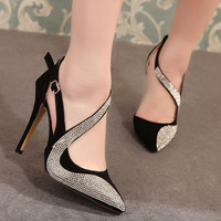 Summer Fashion Rhinestone Stylish High Heel Sandals = 4814733892