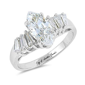 A Perfect 1.8CT Marquise Cut Russian Lab Diamond Engagement Ring