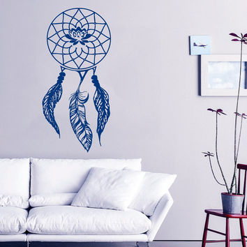 Lotus Wall Decal Dream Catcher Stickers Vinyl Stickers Feathers Yoga Art Mural Home Living Room Interior Design Bohemian Bedding Decor KI69