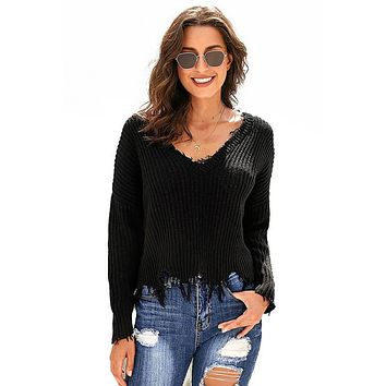 V-neck Distressed Pullover Sweater