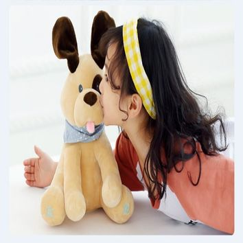 30 cm Peek A Boo music puppy, plush toy peekaboo puppy, baby interactive toy, high quality short plush fabric