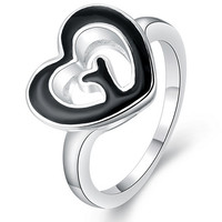 Fashion Heart Love Grass Silver Ring