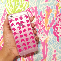 Kissing Elephants Pink Silicone iPhone 6 Case