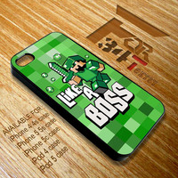 Apple iPhone and iPod case retro Cute Minecraft like a boss blue green purple iphone 4 4s, iphone 5 5s 5c, iPod touch 4, ipod 5 case cover