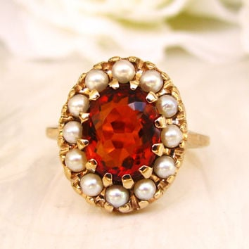 Vintage Citrine & Pearl Ring Alternative Engagement Ring 10K Yellow Gold Vintage Wedding Ring Bridal Jewelry Size 6.5!