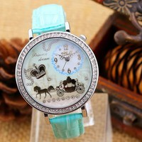 Yesiyan Women's Rhinestones Polymer Clay Leather Strap Band Watch Mint Green