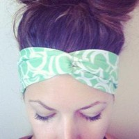 Mint Green and White Design Twisted Turban Fabric Headband