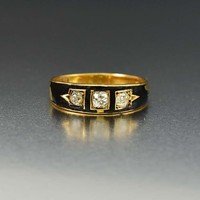 Outstanding Black Enamel 18K Gold Diamond Band Ring
