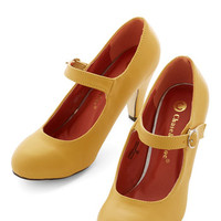 ModCloth Minimal Member of the Board Heel in Yellow