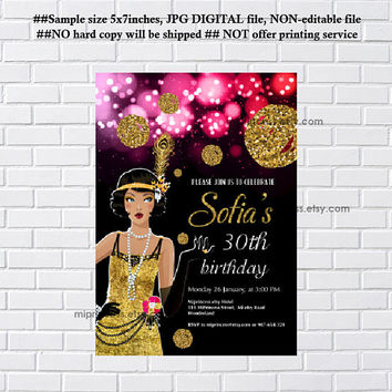 1920 style Party Invitation,  Birthday Invitation for any age 30th, 40th, 50th Glamour Party, vintage party invitation card- card 1218