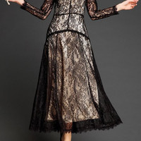 Vintage Black Long Sleeve Lace Maxi Dress