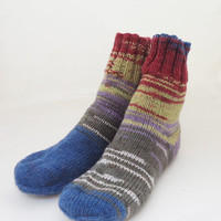 Hand Knit Socks, Women Socks, Blue Grey Red Olive Green Socks, UK Seller