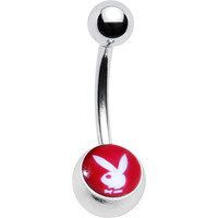 Licensed Red White Playboy Belly Ring