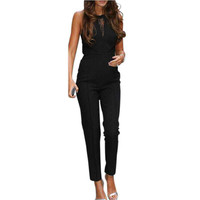 New Arrival 2017 Fashion Womens Jumpsuit Sleeveless Lace Patchwork Long Playsuits Black Overalls Bodycon Rompers Plus Size