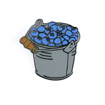 Blueberry Bucket Enamel Pin - Fruit Lapel Pin // Hard Enamel Pin, Cloisonné, Pin Badge
