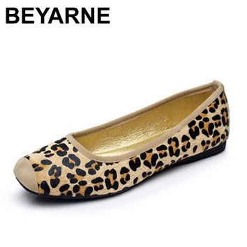 BEYARNE Leopard Brand Luxury Shoes Women Flats Square Toe Slip On Loafers Ladies Shoes Japanese Fashion Plus Size Women Shoes