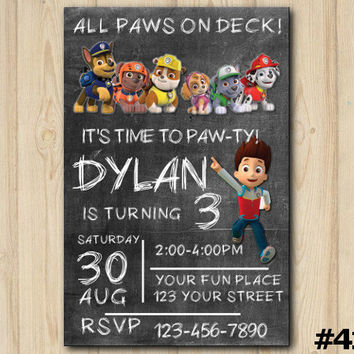 Paw Patrol Invitation, Paw Patrol Chalkboard Birthday Invitation, Paw Patrol Birthday Party, Themed Birthday Party, custom invite (#416)