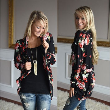 2016 Fashion Women Bomber Jacket Long Sleeve Casual Floral Print Sweaters Cardigan [8323208449]