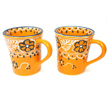 Mexican Ceramic Pottery Mugs Pair of Flared Cups -Mango Encantada