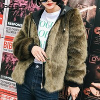 Trendy Women Winter Hooded Faux Fur Coat Jacket Zip Up Fluffy Mink Fur Coats Women Thicken Warm Outerwear Jacket Faux Fur Coats