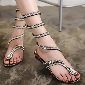 Faux Leather Strappy Roman  Gladiator Sandals Flat Shoes Summer flats flip flop = 4776777924
