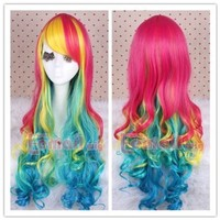 Lemail Wig Rainbow Colorful Long Wave Curly Women Cosplay Hair Party Wigs