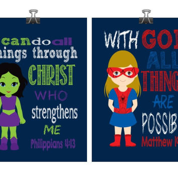 Christian Superhero Nursery Decor Art Print Set of 2 - Hulk girl and Spider girl - Playroom or Kid's Room - Multiple Sizes