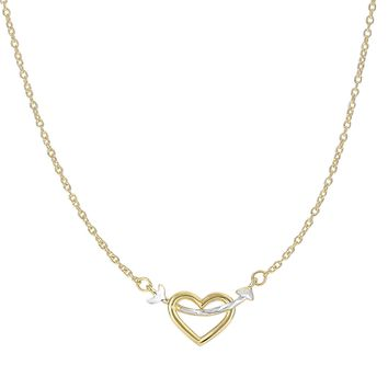 14k Yellow-White Gold Shiny 8.1-1.1mm Arrow Through Open Heart Anchor On 1.1mm Oval Link Necklace with Spring Ring Clasp