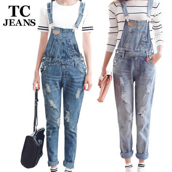 TC Womens Jumpsuit Denim Overalls  Spring Autumn Casual Ripped Hole Loose Pants Ripped Pockets Jeans Coverall XL 2XL WT00194
