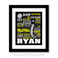 Men's Volleyball Typography Wall Art - Choose Any Colors - twenty3stars