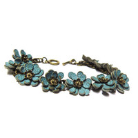 Blue Leather floral bracelet with handmade leather flower