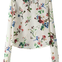 ROMWE Retro Floral Print Long Sleeves Blouse
