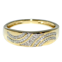 10K Yellow Gold Mens Wedding Band Ring 0.1cttw Diamonds 5.8mm Wide
