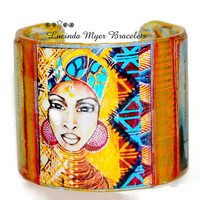African cuff bracelet, inspirational African theme, unique, quotes by Marian Anderson, Oprah Winfrey, multicolored, stunning