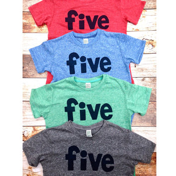 Five in red, blue, grey, mint- boys 5th shirt with navy one kids birthday theme first party