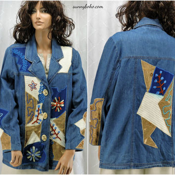 Embroidered denim blazer / jacket 80s embellished boho hippie wearable art jean jacket size M SunnyBohoVintage