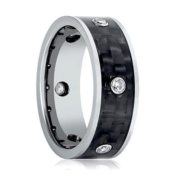 Aydins Mens Tungsten Wedding Band Carbon Fiber Inlay w/ 6 White CZ Stones 8mm Tungsten Carbide Ring