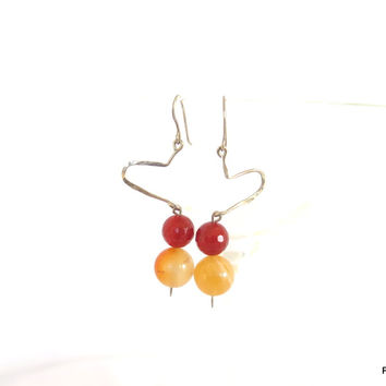 Orange Carnelian and fire agate gemstone earrings, gift for her