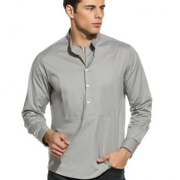 Gray Men's Long Sleeve Stand Collar Solid Button Pullover Casual Shirt