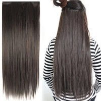 "TOOGOO Fashionable 23"" Dark Brown Straight Full Head Clip In Hair Extensions Perm Wash"