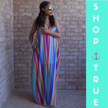 ~After The Storm Rainbow Multicolored Maxi Dress