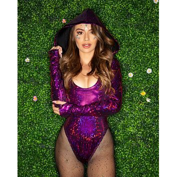 Broken Sequin Hooded Long Sleeve Bodysuit